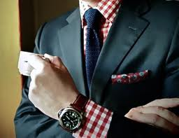 Gingham looking fashionable with a suit