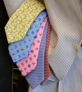 Seersucker suits with animal motif ties