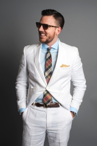 Linen Suit with a Madras Cotton Tie