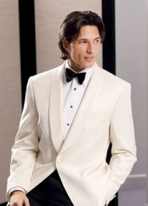 White Tuxedo with a black cummerband