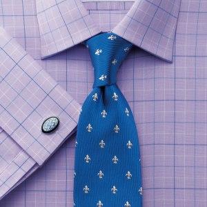 lilac shirt blue tie