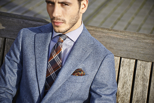 Woolen Suit with a Woolen Plaid Tie