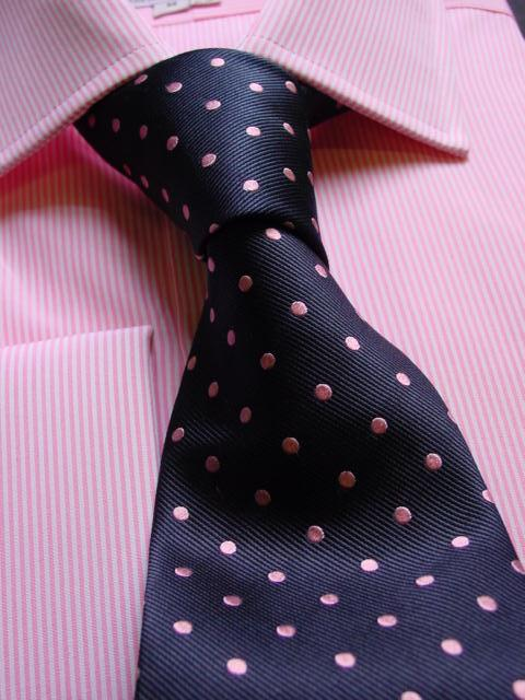 Lilac Shirt Navy Tie