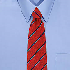 light blue shirt with a red tie