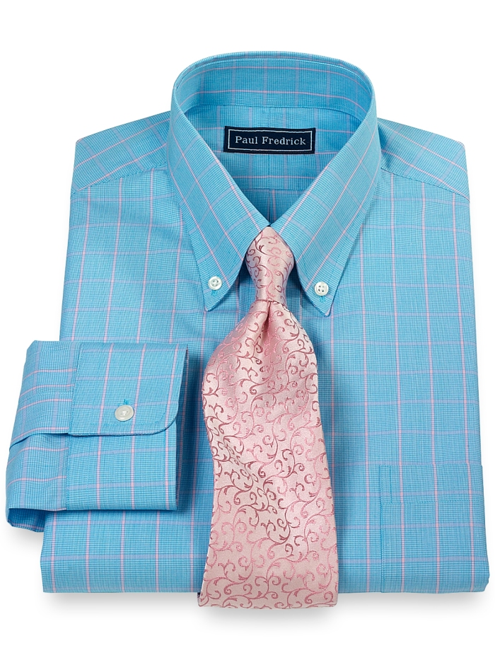 Paul Fredrick Blue Shirt with Pink Tie