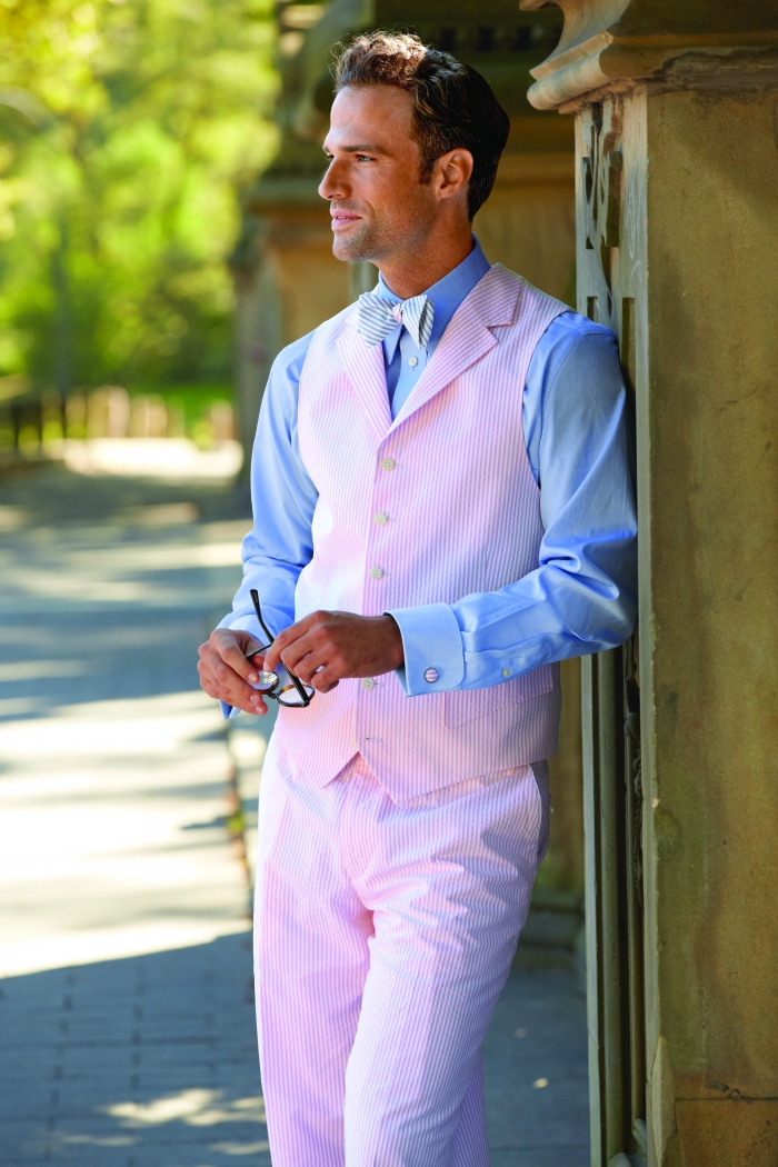 Paul Fredrick Pink Seersucker Vest and Pants